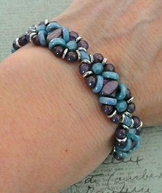Linda's Crafty Inspirations: Bracelet of the Day: Wheely Pwetty - Lilac & Blue