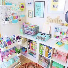 Study Room Decor, Craft Room Decor, Craft Room Storage, Room Organization, Craft Rooms, Girl Bedroom Designs, Room Ideas Bedroom, Craft Room Design, Kawaii Room