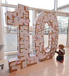 Giant Cardboard Letter for Birthday Messages, Large Cardboard Letters, Giant Letters, Large Letters, Cardboard Crafts, Silhouette Designer Edition, Cool Diy, Diy Karton, Adobe Illustrator, Home Crafts