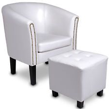 Armchair Tub Chair Footstool Set Cube Stool Faux Leather Room Furniture  White