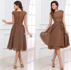 2014 Custom Made A Line Chiffon Scoop Tea Length Bridesmaid Dresses with Sleeves-in Bridesmaid Dresses from Apparel & Accessories on Aliexpr...