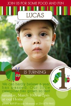 Hungry Caterpillar Invitation YOU PRINT. $11.00, via Etsy.