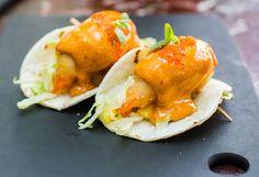 Sink your teeth into this juicy tempura prawn taco, courtesy of MOJO by Luke Mangan, Maldives