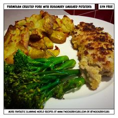 These parmesan crusted pork chops with garlic broccoli and smashed potatoes are a joy to make and are completely syn free. No reason to eat badly on SW! Remember, at www.twochubbycubs.com we post a new Slimming World recipe nearly every day. Our aim is good food, low in syns and served with enough laughs to make this dieting business worthwhile. Please share our recipes far and wide! We've also got a facebook group at www.facebook.com/twochubbycubs - enjoy!