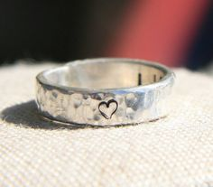 Hammered Heart Ring - Engraved Ring on Etsy, $43.00