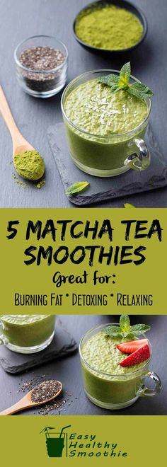 5 Matcha Tea Smoothies to Lose Weight and Boost Your Health 5 Matcha tea smoothie recipes that are all delicious and healthy and help you to add this superfood into your daily diet. Smoothie Au Matcha, Smoothie Fruit, Apple Smoothies, Avocado Smoothie, Smoothie Detox, Smoothie Drinks, Healthy Smoothies, Healthy Drinks, Healthy Juices