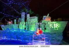 Ottawa, On - Feb 7: Sculptures Made Out Of Ice At Night For ...