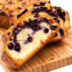 This blueberry pound cake has zested orange and makes a light delicious cake.