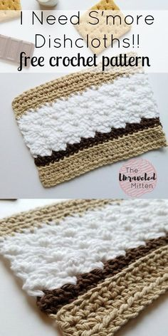I Need S'more Dishcloths Free Crochet Pattern || The Unraveled Mitten. When I think Summer I think S'mores!! What better way to clean up the sticky mess they leave behind than with a crochet dishcloth that looks like a S'more.
