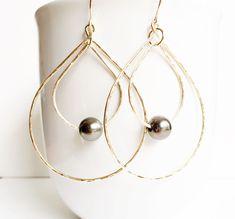 Tahitian pearl double hoop earrings (E228)