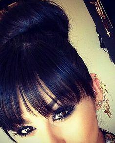 bun with bangs