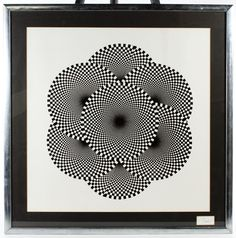 Lot 759: Thomas Strobel (American, 1931-2001) Print; Undated, signed lower right, depicting black and white optic circles