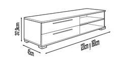 Mueble Moderno de Televisión este multifuncional mueble para TV la puedes realizar de la siguiente medida de largo 120, 140 y 160 cm.  de largo 37,9 cm de alto y 45 cm de fondo o profundidad. El modelo de este mueble consta de dos cajones y un estante u repisa.El mueble es ideal para incorpórarlo en un espacio reducido y brindarnos toda la comodidad que se requiere en un centro de entretenimiento pequeño.