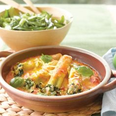 Salmon and spinach cannelloni