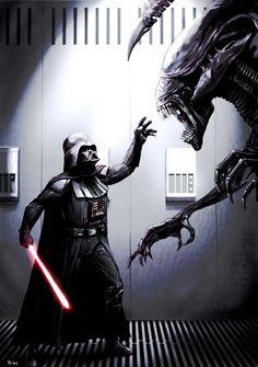 Vader vs Aliens #starwars #fanart