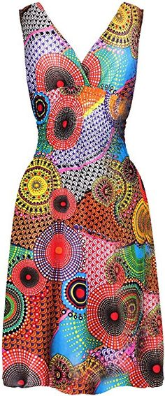 G2 Chic Women's Printed Mid-Length Flattering Summer Sun Dress(DRS-CAS, REDA3-M) at Amazon Women's Clothing store: