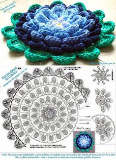 Flower patterns in crochet ll, Crochet Mandala Pattern, Granny Square Crochet Pattern, Crochet Flower Patterns, Crochet Diagram, Crochet Chart, Crochet Flowers, Crochet Dollies, Crochet Flower Tutorial, Crochet Accessories