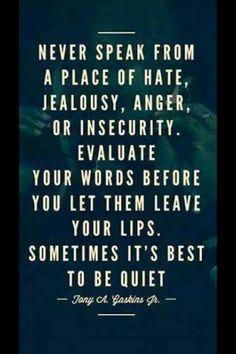 Don't speak in anger