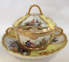 Meissen 18th Century Ecuelle -Covered Bowl With Stand