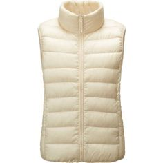 UNIQLO Ultra Light Down Vest (€41) ❤ liked on Polyvore featuring outerwear, vests, off white, uniqlo, down vest, vest waistcoat, uniqlo vest and down filled vest