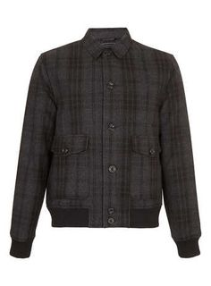 CHARCOAL CHECK BOMBER JACKET