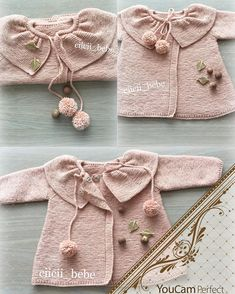 This Pin was discovered by GÜL Baby Knitting Patterns, Baby Sweater Patterns, Knitting For Kids, Baby Patterns, Crochet Jumper, Knitted Baby Cardigan, Knit Crochet, Baby Girl Sweaters, Baby Coat