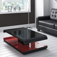 High Gloss Black Coffee Table with LED Lighting - Tiffany Range Coffee Table High Gloss, Black Coffee Tables, Unique Coffee Table, Rectangular Living Rooms, Low Shelves, Living Room Furniture, The Help, Led, Contemporary