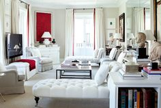 white and red living