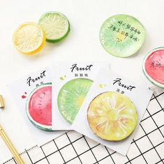 9 Designs Cute Fruit Sticky Notes DIY Diary Scrapbooking Paper Stickers Bookmark Decoration Lable Post It Kawaii Memo Pad Stationery Store, Kawaii Stationery, Notebook Stationery, Notes Autocollantes, Sticky Notes, Kawaii Fruit, Note Memo, Cute Fruit, School Supplies
