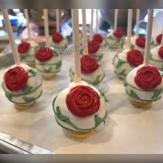 Disney Beauty and the beast inspired cakepops. Flower cake pop, rose cake pop. Edible art, candy bar, sweets table