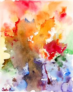 Maple Leaves Abstract Watercolor Painting Art Print, Colorful Nature, Abstract Modern Art, Wall Art, Intuitive Painting