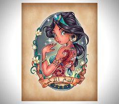 Disney princesses as tattooed pinup girls - Jasmin