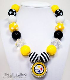 NFL, Steelers, Pittsburgh Steelers Chunky Bead Necklace,  Chunky Necklace, Bubblegum Bead Necklace, Chunky Bead Necklace, NFL Necklace on Etsy, $21.00