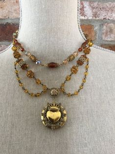 Etched Crystal Cameo Pendant with Gold Filigree Border; Rope Chain; Matching Clip-On Earrings; Vintage Jewelry Set