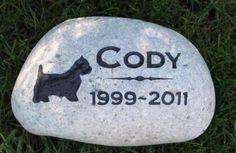 Personalized Dog Pet Stone Memorial Gravestone Westie 8-9 Inch Memorial Grave Burial Stone Marker & Other Breeds #burial_grave_marker #dog_grave_marker #dog_memorial
