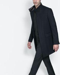 NAVY HERRINGBONE COAT from Zara