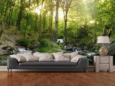 Forest Waterfall wall mural in-room view