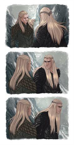 --- The Hobbit - The Lord Of The Ring --- Legolas Thranduil --- At the end of the Battle Of The Fives Armies. LOTR - I can't go back Legolas And Thranduil, Fili And Kili, Tauriel, Aragorn, Gandalf, Tolkien Hobbit, O Hobbit, Hobbit Art, Lotr Elves