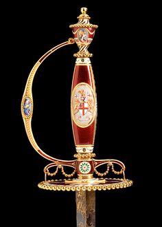Sword Place of origin: London, England (made) Date: 1781 (made) Artist/Maker: James Morisset (hilt, enameller) Shrapnell, James (cutler) Materials and Techniques: [Sword] Steel with enamelled gold - Art-of-Swords-09.jpg