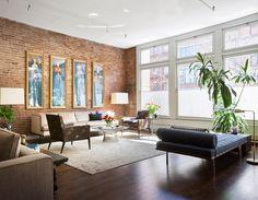 Best Modern Apartment NYC Loft Interior Design Pictures Gallery : Loft Apartment Living Room Design