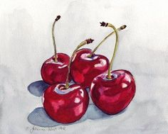 Cherry Watercolor Painting - Four Red Cherries, Watercolor Art Print, 11x14
