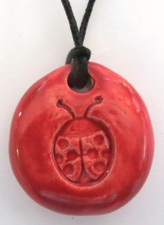 LADYBUG  Pendant / Necklace  Ceramic  RED Art by InnerArtPeace