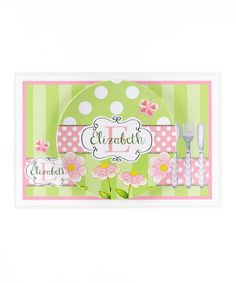 Take a look at this Green & Pink Daisy Personalized Dining Set by Farmhousefive Art for Kids on #zulily today!