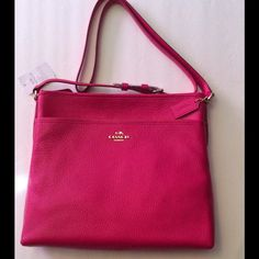 """Coach Pebble Leather File Bag Ruby Pink Gold NWT Coach File Bag in Pebble Leather, Gold/Ruby Pink Inside Zip, cell phone and multifunction pockets  Zip top closure, fabric lining. Long strap with 21 1/2"""" drop for shoulder or cross-body wear. 9"""" L x 11 3/4 H    ~    Authentic NWT    No Trades No Holds  Coach Bags"""