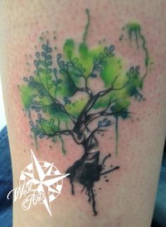 Watercolor Tree Tattoo. This tree is being very heavily shared and so I want to say this is NOT one of my drawings. I tattooed this from a drawing brought in by a client, it is NOT my original artwork,  just my reproduction. Thumbs up to the original artist. It made an incredible tattoo.