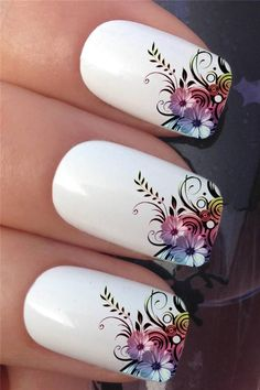 Nail Art Set 608 x12 Flower Leaf French Tips Water Transfer Decals Stickers | eBay