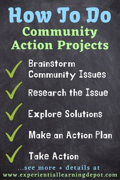 Community action projects describe a type of project-based learning that encourages students to take action on community issues important to them. This blog post highlights and explains the steps students take in community action projects. #projectbasedlearning #servicelearning High School Activities, Learning Activities, 21st Century Classroom, Experiential Learning, Service Learning, 21st Century Skills, School Community, Project Based Learning, High School Students