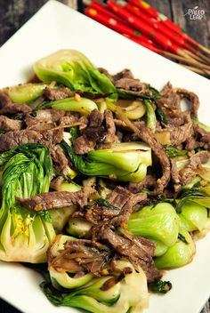 Spicy Beef And Bok Choy (KS: made this for dinner tonight. I didn't make it very spicy and added some soy sauce to make it perfect!)