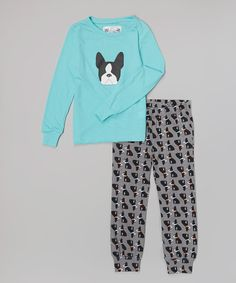 249043a8b0 Aegean Apparel Blue Boston Terrier Pajama Set - Girls