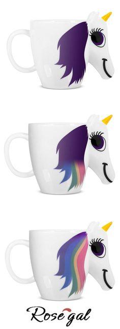 Free shipping worldwide.COZZINE Magic Unicorn Pattern Ceramic Heat Sensitive Mug Rainbow Color Changing Coffee Cup